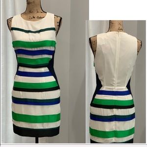 Fable multicolored tiered ribbon dress